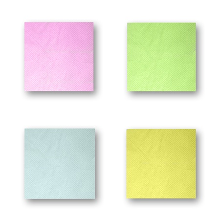 tissue papercraft: variety color note  isolated on white background with shadow made from tissue papercraft