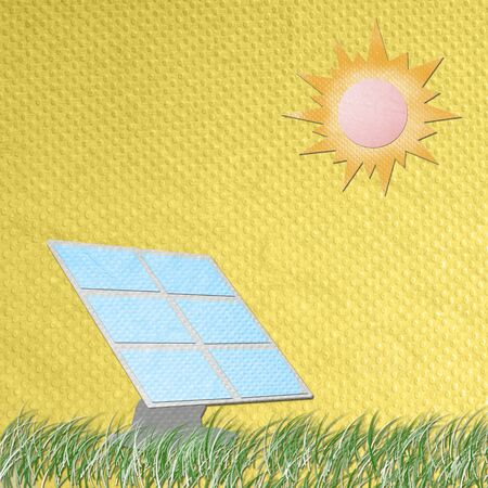 photocell: solar cell panel against the sun made from tissue papercraft