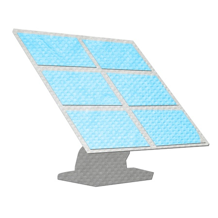 photocell: solar cell panel isolated made from tissue papercraft Stock Photo