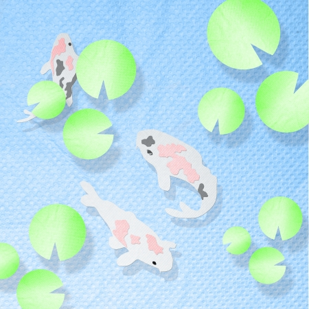 hokusai: Koi fish in the pool with lotus made from tissue paper craft
