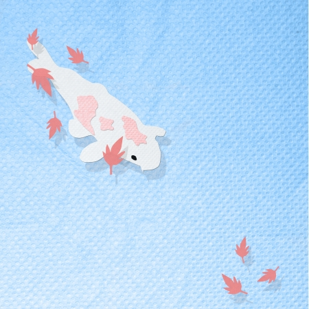 Koi fish in the pool with maple leaf made from tissue paper craft photo