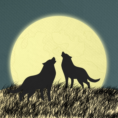 back packs: Wolf howling at the moon in the midnight made form tissue paper craft Stock Photo