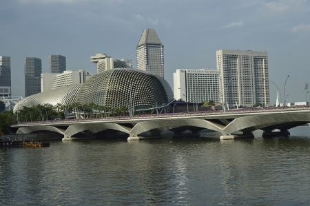 Located at Waterfront, Marina Bay, mouth of Singapore River. The Esplanade is a world renowned performing arts centre. Its twin domes are nicknamed as the Durian  Stock Photo - 17044770