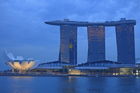 SINGAPORE - APRIL 30  Marina Bay Sands Hotel in day on April 30, 2012 on Singapore  This hotel is billed as the world