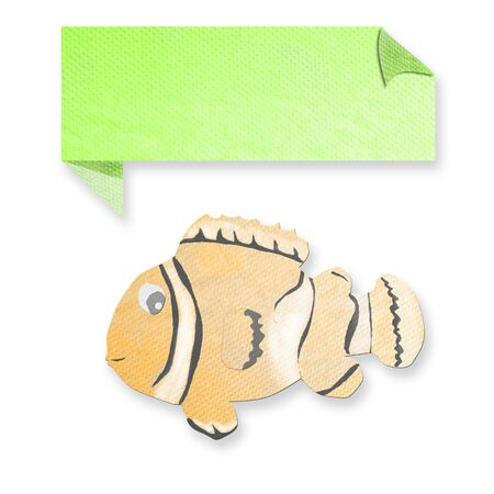 tissue papercraft: anemonefish with text box made from tissue paper-craft