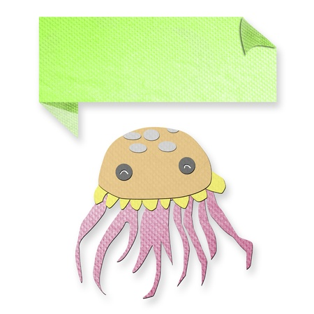 jellyfish with text box made from tissue paper-craft Stock Photo - 17092414