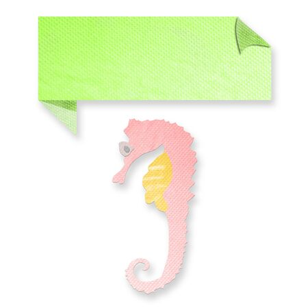 seahorse with text box made from tissue paper-craft Stock Photo - 17092412