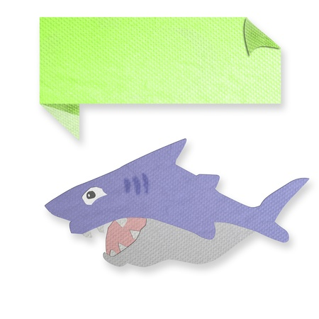 tissue papercraft: shark with text box made from tissue paper-craft Stock Photo