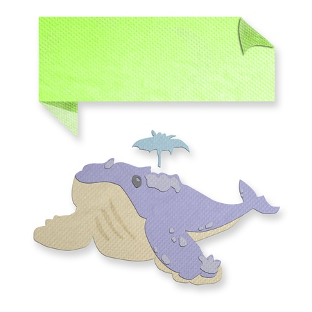 tissue papercraft: blue whale with text box made from tissue paper-craft