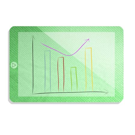 tissue paper: Green tablet with graph isolate made from tissue paper craft