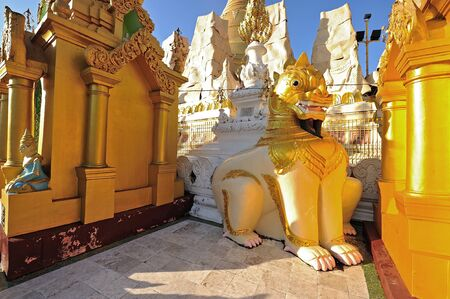 Lion Sculpture in schwedagon pagoda, Yangon , Myanmar  photo