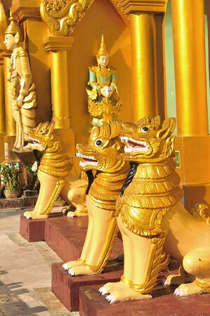 Lion Sculpture in schwedagon pagoda, Yangon , Myanmar. photo