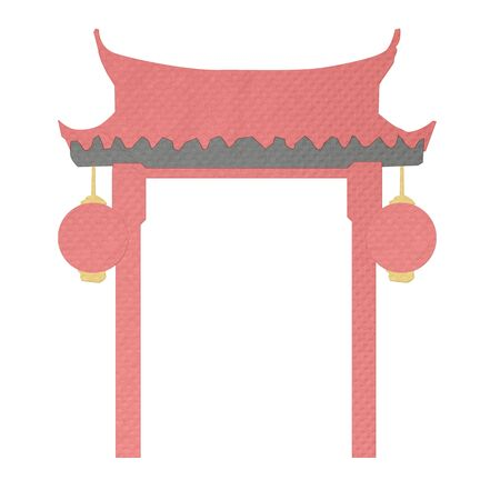tissue papercraft: chinese gate made from tissue paper-craft