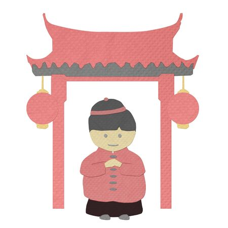 tissue papercraft: chinese new year boy greeting from tissue paper-craft