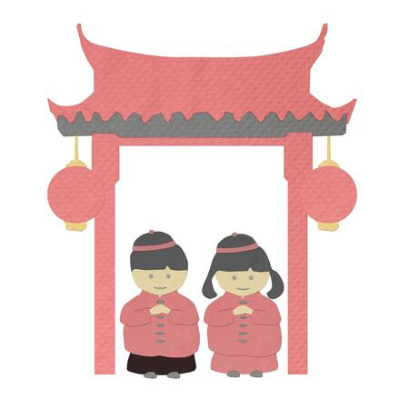 tissue papercraft: chinese new year boy and girl greeting from tissue paper-craft