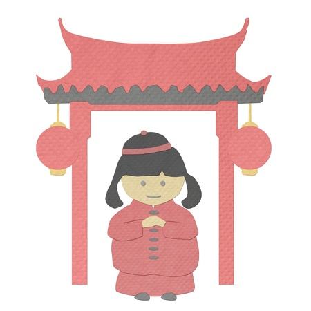 auspicious: chinese new year girl greeting from tissue paper-craft Stock Photo
