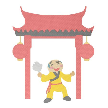 tissue papercraft: chinese gate and smiling dance made from tissue paper-craft
