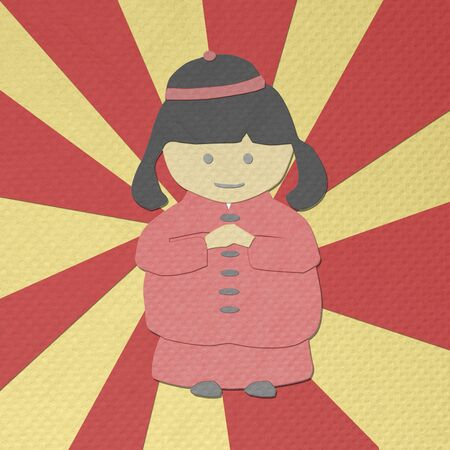 tissue papercraft: chinese new year girl greeting from tissue paper-craft Stock Photo