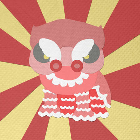 tissue papercraft: chinese new year lion dance greeting made from tissue paper-craft