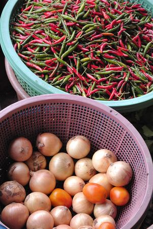 chilli and onion in traditional floating market , Thailand Stock Photo - 17441951