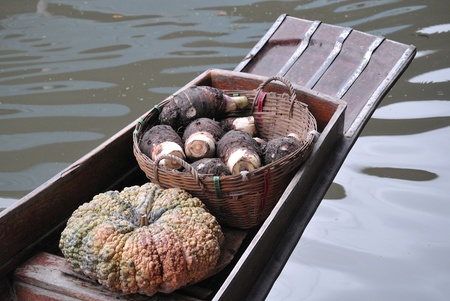 pumkin and taro in traditional floating market , Thailand  Stock Photo - 17441937