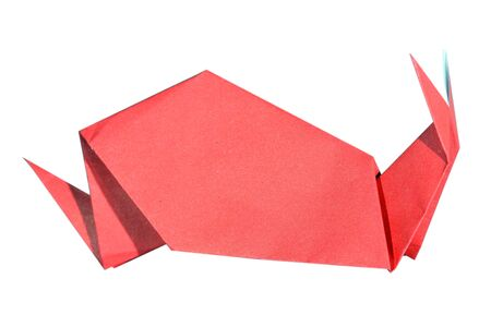 Origami red snail on a white background  photo