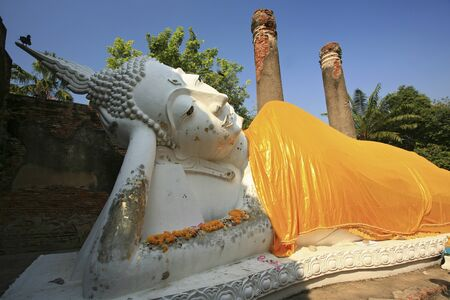 Reclining of buddha, Ancient temple Ayudhaya-Wat Yai Chai Mongkol at thailand photo