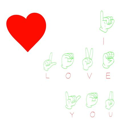 I Love You  Hand language and heart Stock Vector - 17548836