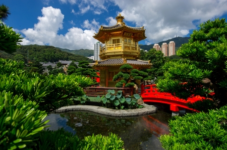 Arch Bridge and Pavilion in Nan Lian Garden, Hong Kong