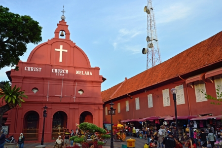 MALACCA, MALAYSIA - MAY 19  A view of Christ Church   Dutch Square on May 19, 2012 in Malacca, Malaysia  It was built in 1753 by Dutch   is the oldest 18th century Protestant church in Malaysia