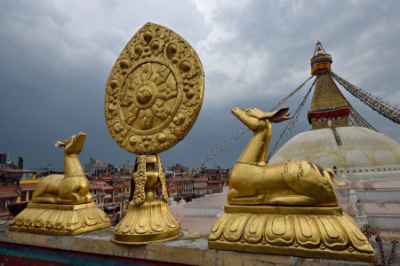 Golden brahma symbol in front of Boudha Nath  Bodhnath  stupa in kathmandu, Nepal