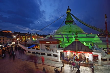 Bodhnath Stupa in twilight, Kathmandu, Nepal   Stock Photo
