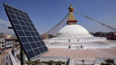 Solar cell above  roof top of restaurant near  Bodhnath Stupa in Kathmandu, Nepal   photo
