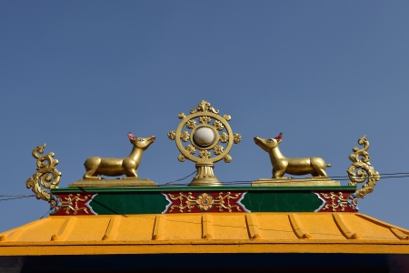 Golden brahma symbol on reef top of buddhis temple around Boudha Nath  Bodhnath  stupa in kathmandu, Nepal