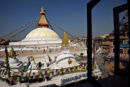 Boudhanath Stupa through the windows, Kathmandu valley, Nepal  Stock Photo - 18777013