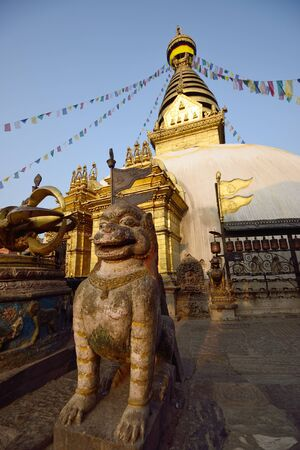The statue of animal is located at the Swayambhunath Temple in Nepal  Stock Photo