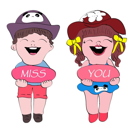 miss you cute boy and gril cartoon isolated photo