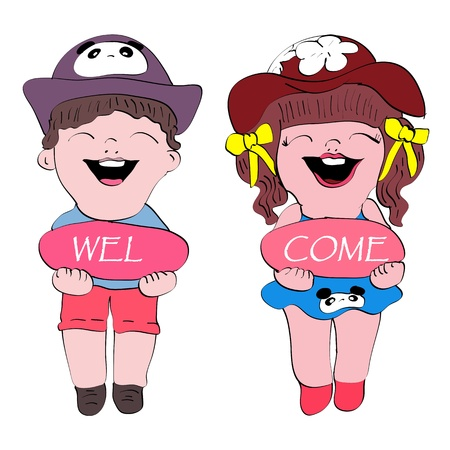 gril: welcome cute boy and gril cartoon isolated