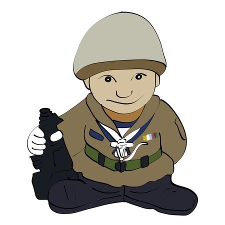 Soldado de dibujos animados de pie con la pistola Foto de archivo - 18980118
