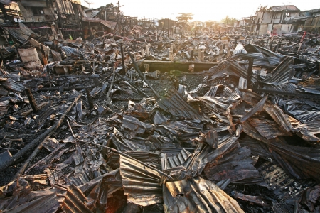 After fire at slum in Bangkok, Thailand  Stock Photo