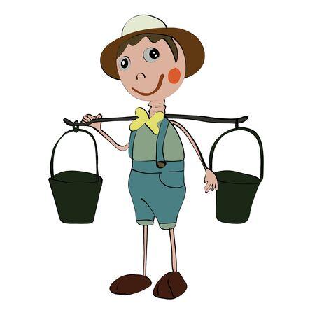 full pant: longneck gardener doll isolated Stock Photo