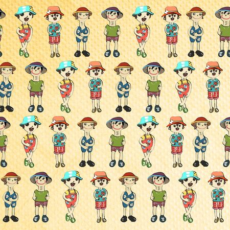 full pant: long neck doll seamless on paper-craft background Stock Photo