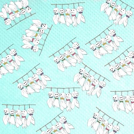 Rain Doll  seamless on paper-craft background photo