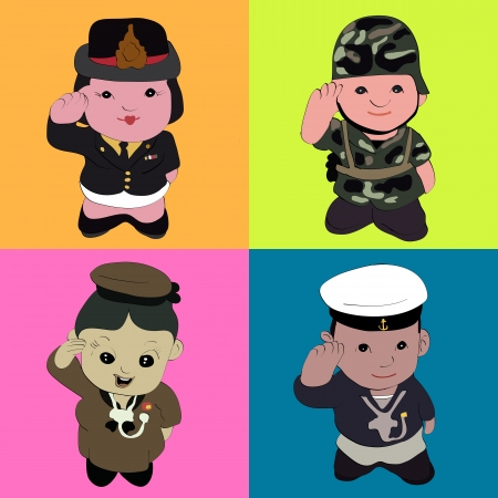 service boy: The soldier giving a honor on mix color background Stock Photo