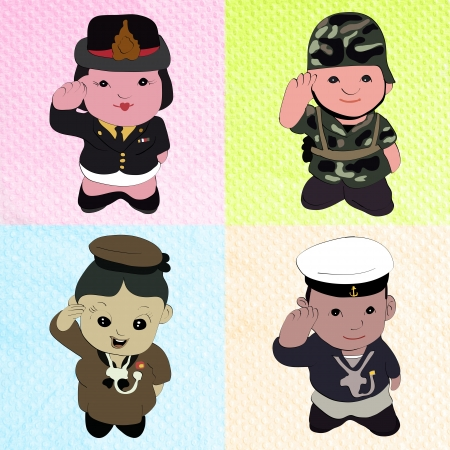 The soldier giving a honor on mix color paper-craft background photo