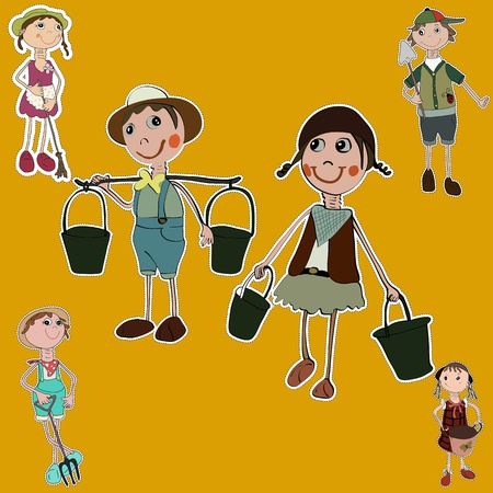 gardener cartoon set stickers collection Vector