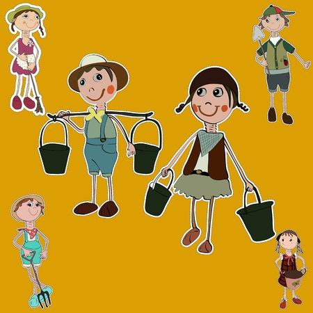 gardener cartoon set stickers collection Stock Vector - 19400722