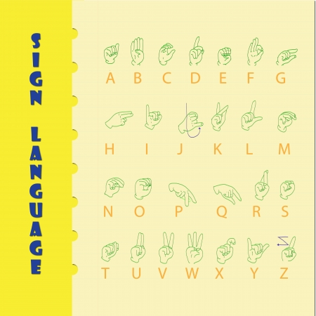 Sign language and the alphabe on yellow paper with blue line  Stock Vector - 19400734