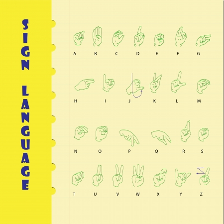 Sign language and the alphabe on yellow paper with blue line. Stock Photo - 19400795