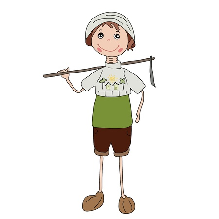 full pant: longneck gardener doll isolated Stock Photo